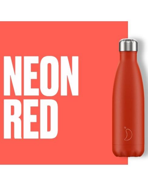 chillys bottle neon red valverbe thermos bottles